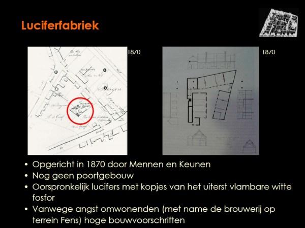 De ruimtelijke ontwikkeling van de Lucifersfabriek is in het onderzoek via historische kaarten in beeld gebracht.