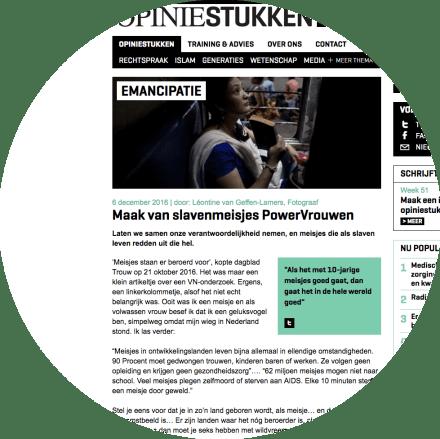 Opiniestuk van Léontine van Geffen-Lamers: 'Powervrouwen voor Free a girl' 2016.