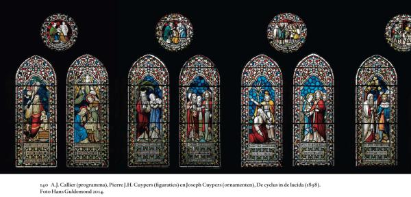 Enkele gekoppelde glazen uit de concordans in de apsis van de nieuwe Bavo (programma A.J. Callier, figuraties Pierre J.H. Cuypers, ornamenten Joseph Th.J. Cuypers) Foto Hans Guldemond 2014.