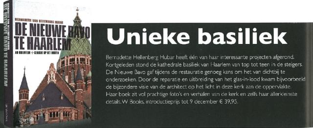 Positieve reactie Stadsglossy op het boek over de nieuwe Bavo te Haarlem (2016).