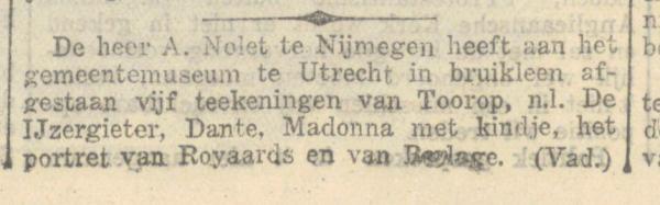 Antonie Nolet bruikleen tekeningen van Jan Toorop gemeentemuseum Utrecht. Screenshot Delpher, De Maasbode van 17-04-1924.