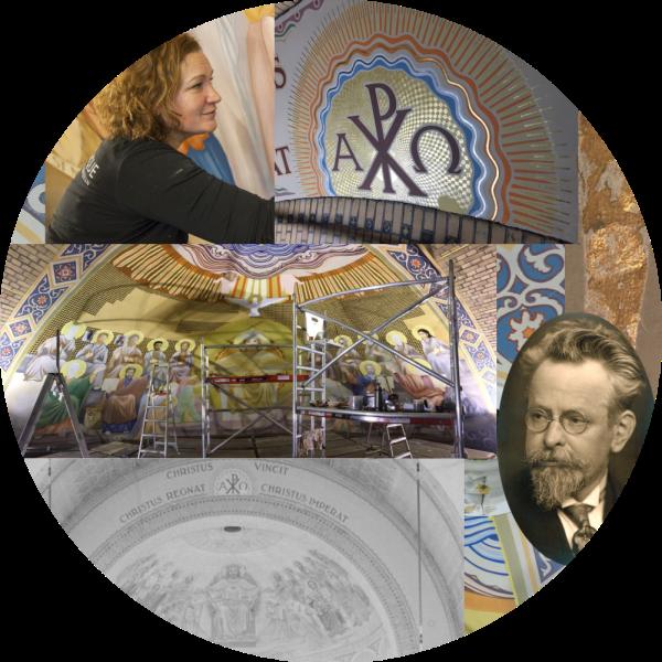 Jojanneke Post ontmoet Kees Dunselman in de schilderingen in de kathedraal van Rotterdam. Collage bvhh.nu 2018.