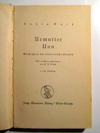 "Title page of ""Urmutter Unn."""