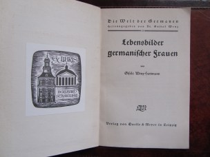 Title page of Gisela Wenz-Hartmann's book (1937) with ex-libris on the facing page.