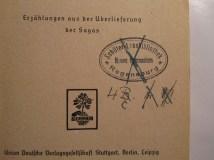 """Provenance marks on title page of """"Von nordischen Frauen, Königen und Baueren""""."""