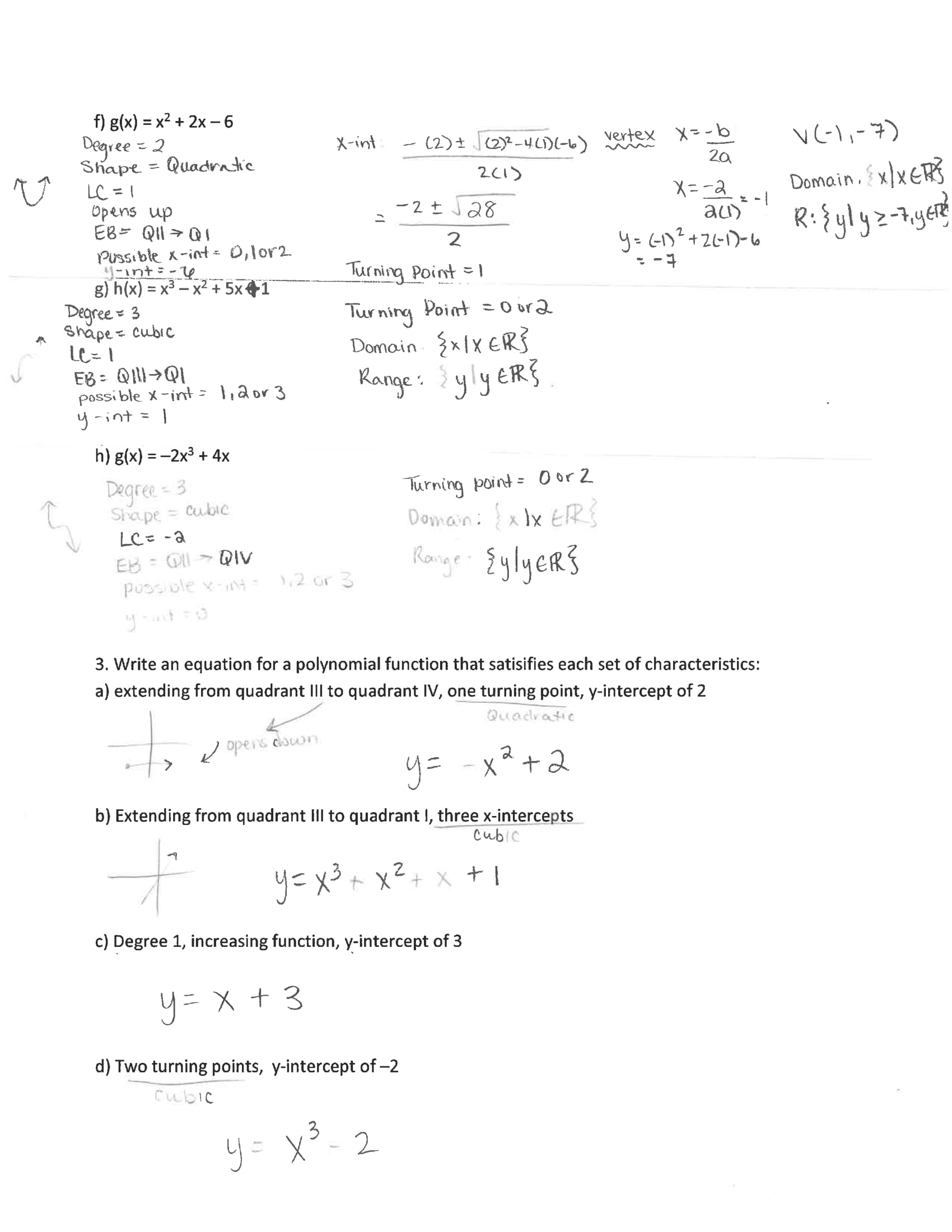 Worksheet Writing Polynomial Functions A 5 3 Answers