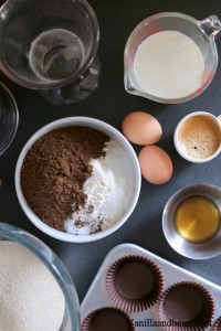 Ingredients for making Mocha Cupcakes