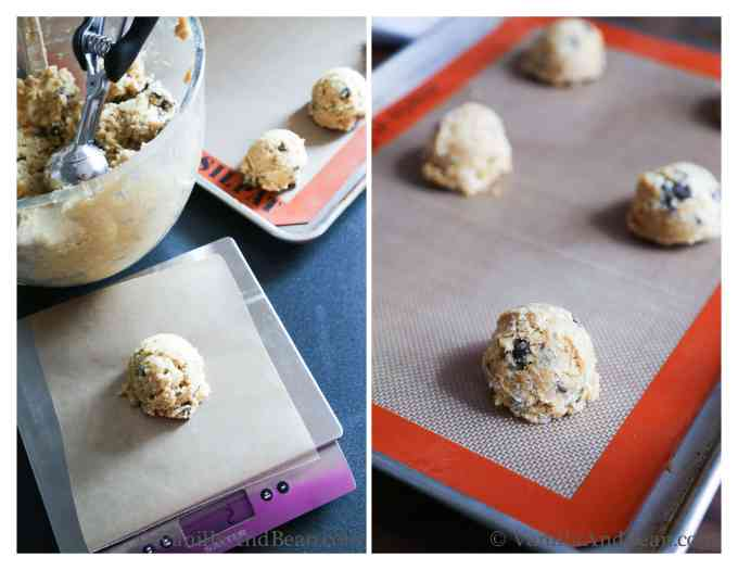Chocolate chip coconut cookies almost ready - right shape perfect size