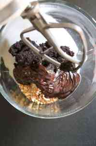 Mixing melted chocolate