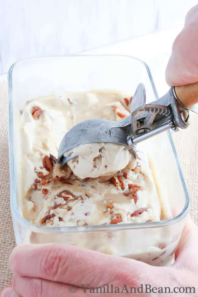 Bourbon Salted Caramel Pecan Ice Cream {Vegan} | Vanilla And Bean