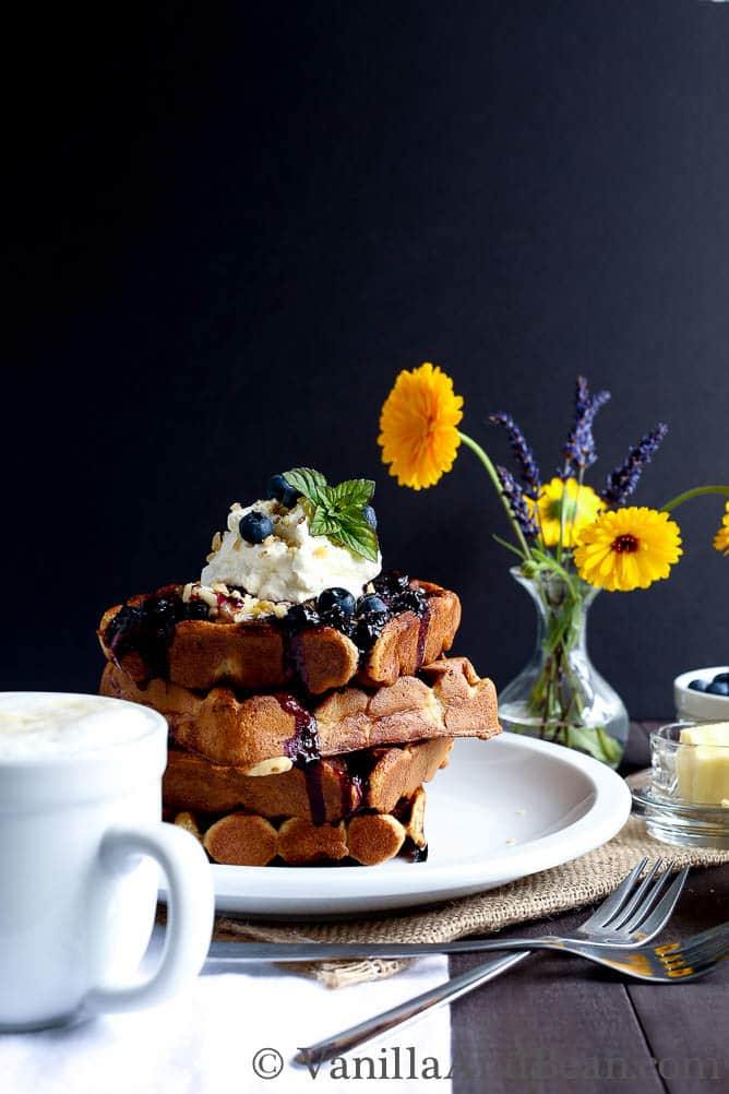 Nutty Whole Grain Waffles with Blueberry Compote | Vanilla And Bean
