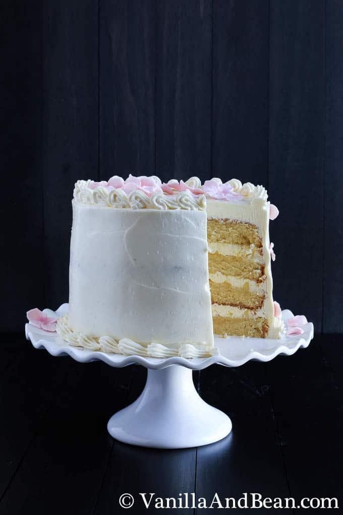 Hot Milk Cake with Lemon Curd and Italian Meringue Buttercream   Vanilla And Bean