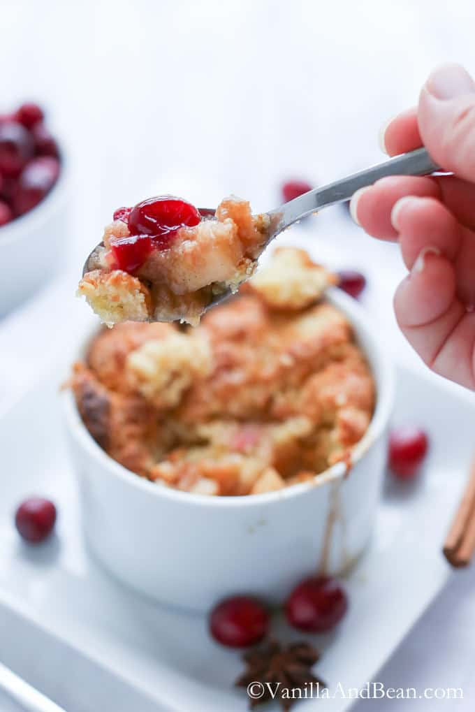 Bourbon Apple Cranberry Cobbler with Anise and Vanilla Bean (+ A Giveaway until Nov 20)! | From VanillaAndBean.com