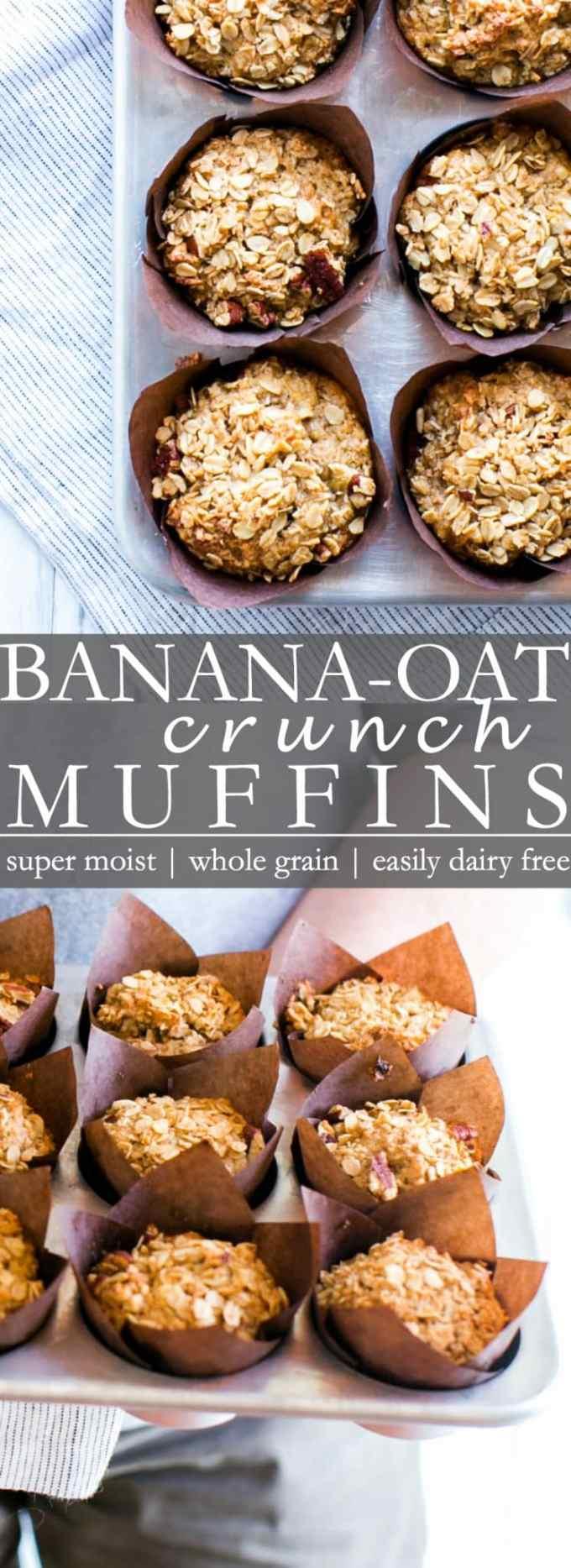 Banana Oat Crunch Muffins Pin