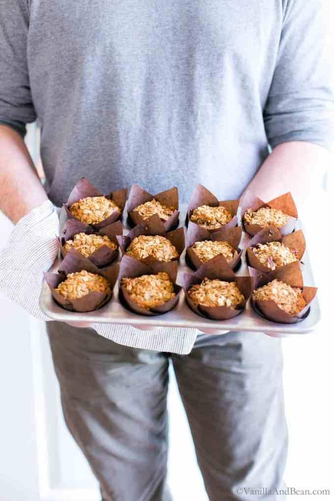 Sharing a pan of Banana Oat Crunch Muffins