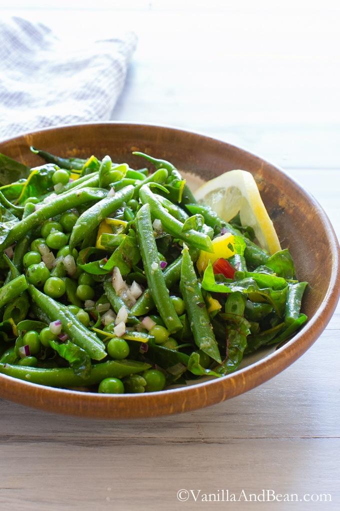Green Bean Salad with Peas, Chard and Dijon Tarragon Vinaigrette   Vanilla And Bean