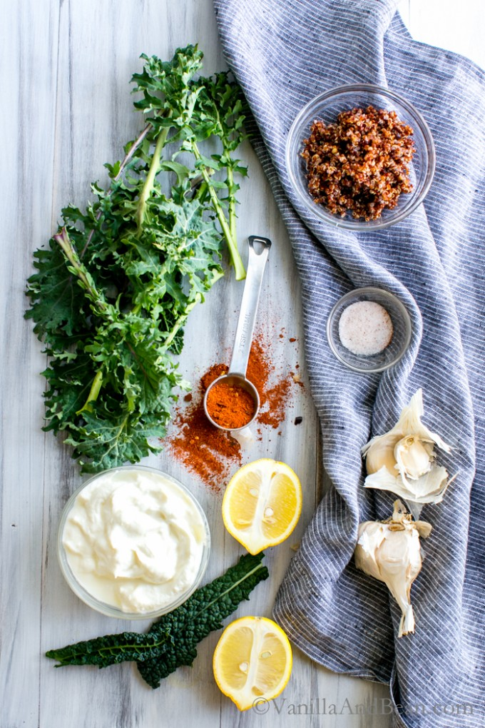 Crudité with Garlicky Kale and Quinoa Yogurt Dip | Vanilla And Bean