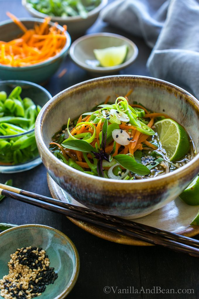 Warming and cozy, Ginger Miso Soba Noodle Bowls with Wakame are so comforting and can be seasonally adapted by changing the veggies. Vegan + Optionally GF