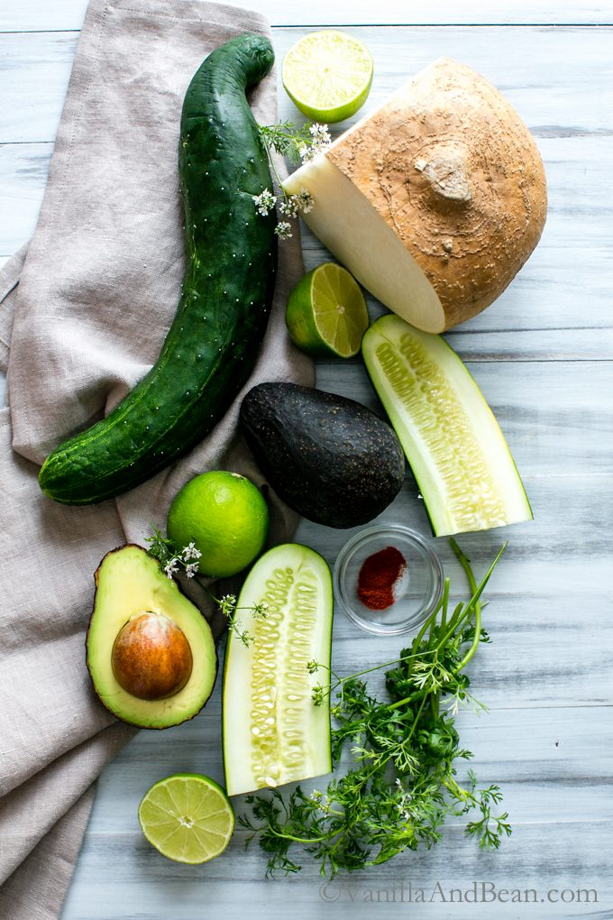Crunchy and creamy with a hint of spice this hydrating, and nourishing, Avocado Jicama Cucumber Salad with lime, cilantro and a pinch chiles will take the edge off Summertime heat. Vegan + GF