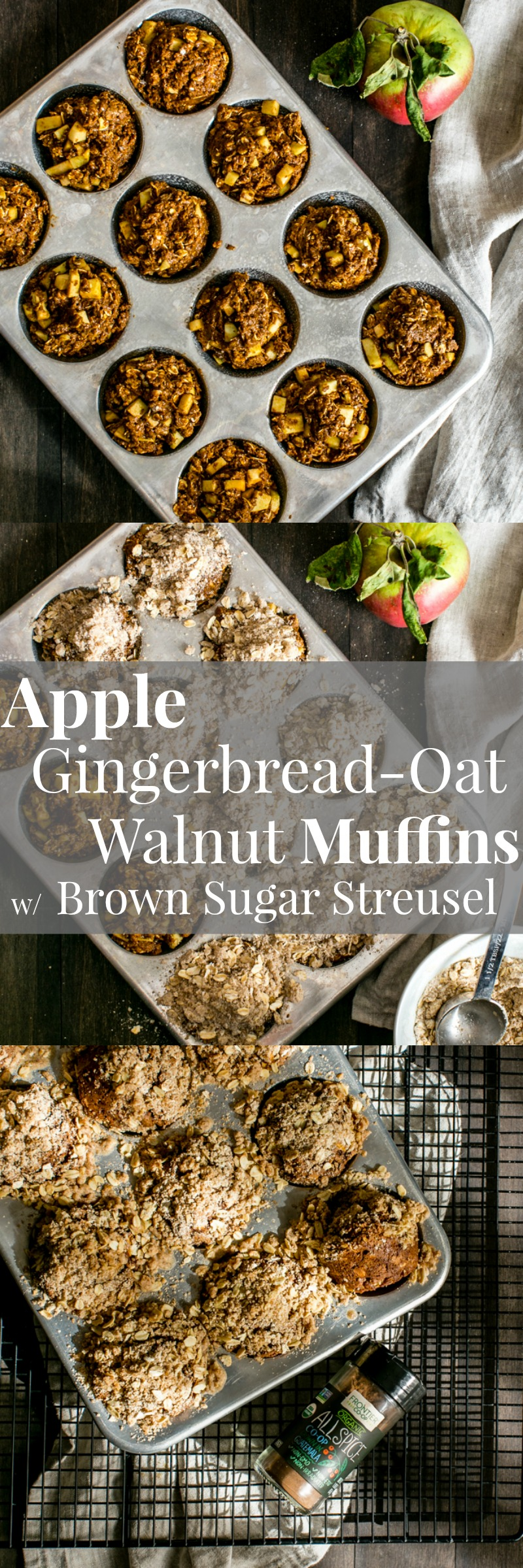 Warming and cozy Vegan Apple Gingerbread-Oat Walnut Muffins with Brown Sugar Streusel are easy to make and freezer friendly! Welcome fall! #ad
