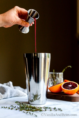 Bubbly, citrusy, refreshing with notes of raspberry and cucumber, Blood Orange Thyme and Gin Cocktail embraces winter's freshest of fruits. | Cocktail Recipe
