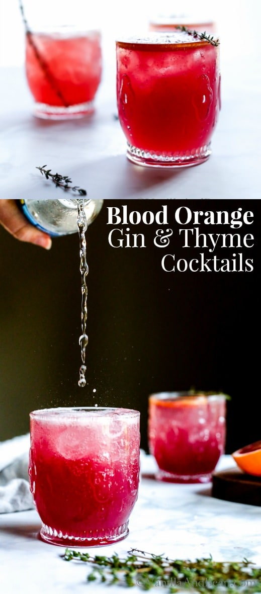 Bubbly, citrusy, refreshing with notes of raspberry and cucumber, Blood Orange Thyme and Gin Cocktaill embraces winter's freshest of fruits. | Cocktail Recipe