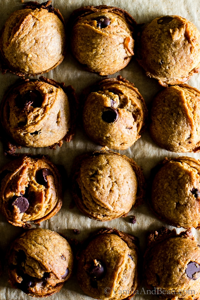 Flourless Peanut Butter Chocolate Chip Cookies from Kathryne Taylor's new cookbookLove Real Food have a whole jar of peanut butter in there! Tender, rich and oh SO peanut-buttery! Gluten-Free