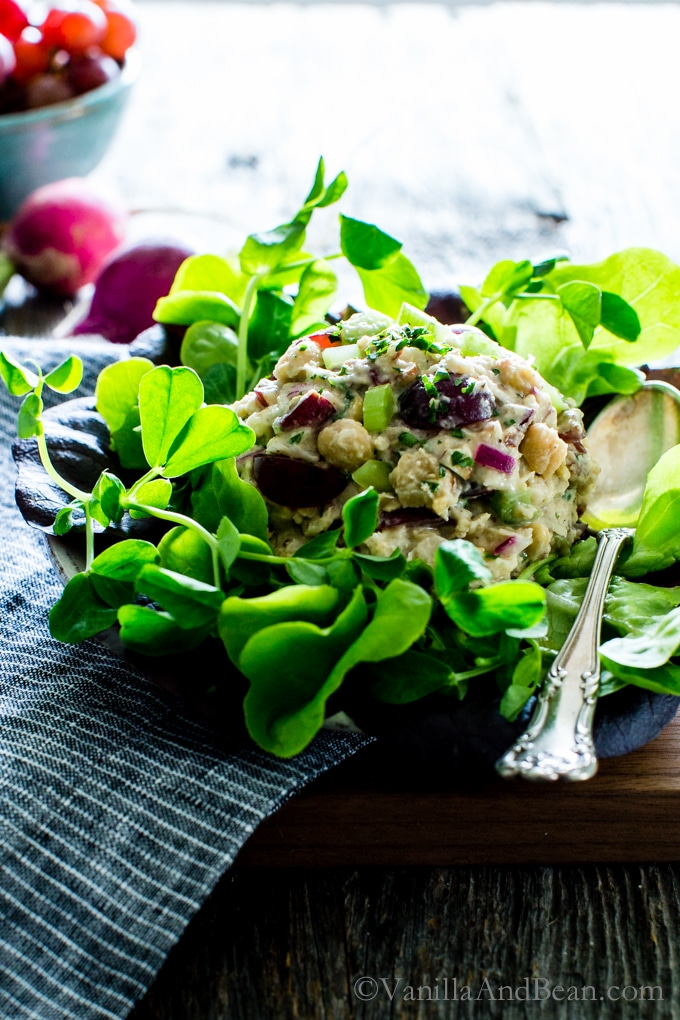 Smashed Chickpea Salad with Pecans and Grapes
