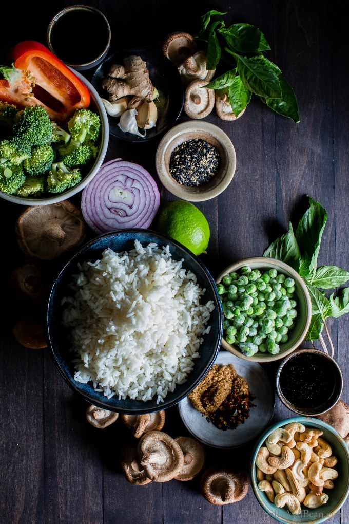Crunchy, seasonal veggies shine inThai Vegetable Fried Rice with Cashews. Prep ahead for meal planning and dinner comes together fast! Top with crunchy sesame seeds and green onions, for that authentic flavor. #veganRecipes #vegetarianRecipes #GlutenFree #FriedRice