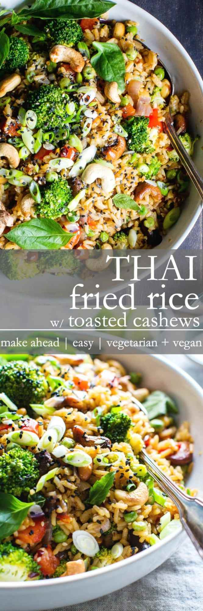 Thai Fried Rice with Toasted Cashews   Make ahead, weeknight make at home take out! Veggie packed and full on umami! This recipe is vegan + vegetarian + gluten free