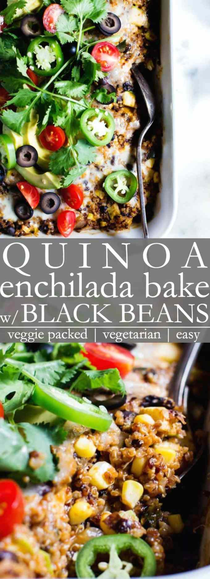 Quinoa Enchilada Bake / Casserole with Black Beans is chock full of veggies! Perfect for sharing - a healthy vegetarian dinner recipe that freezes with ease and is perfect for meal prep