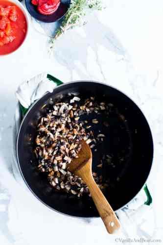 Saute Mushroom in a Soup Pot