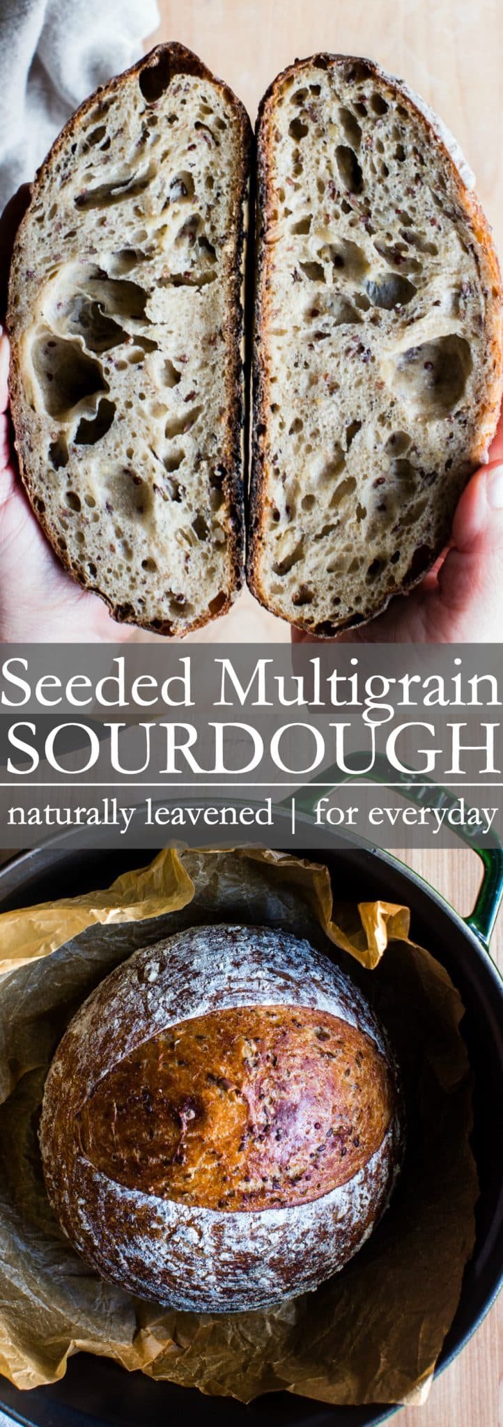 With a crunchy exterior and chewy interior, Seeded Multigrain Sourdough Bread is texture rich with an earthy blend of grains and seeds to make a crave-worthy loaf. #SourdoughBread #MultigrainBread #SourdoughMultigrain #NaturallyLeavenedBread #VeganBread