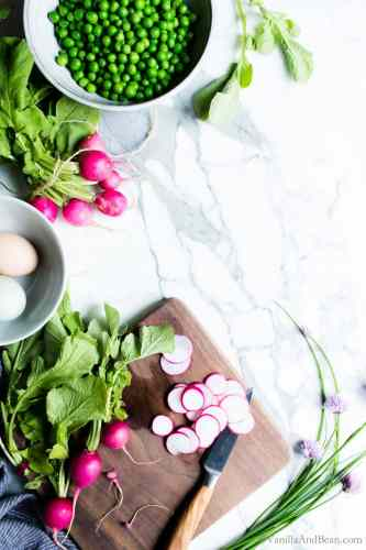 Slicing Radishes for Green Pea Salad