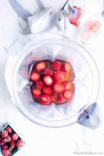 VitaMix Blending Ingredients for Wine Slushies