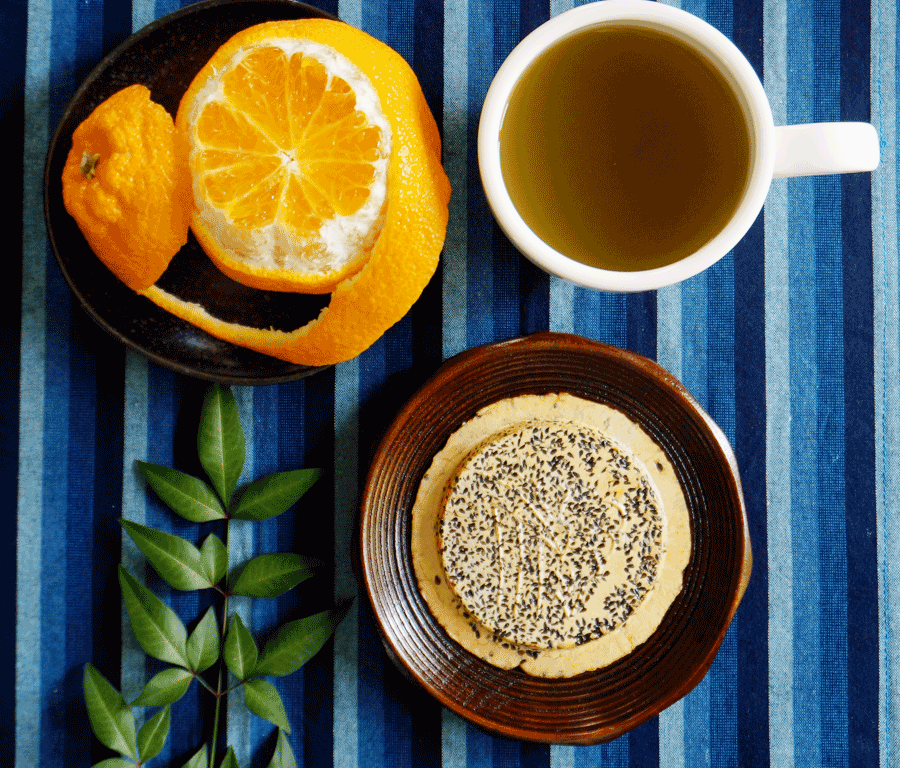 MATCHA at NOON with Nambu Senbei rice cracker and Ponkan tangerine