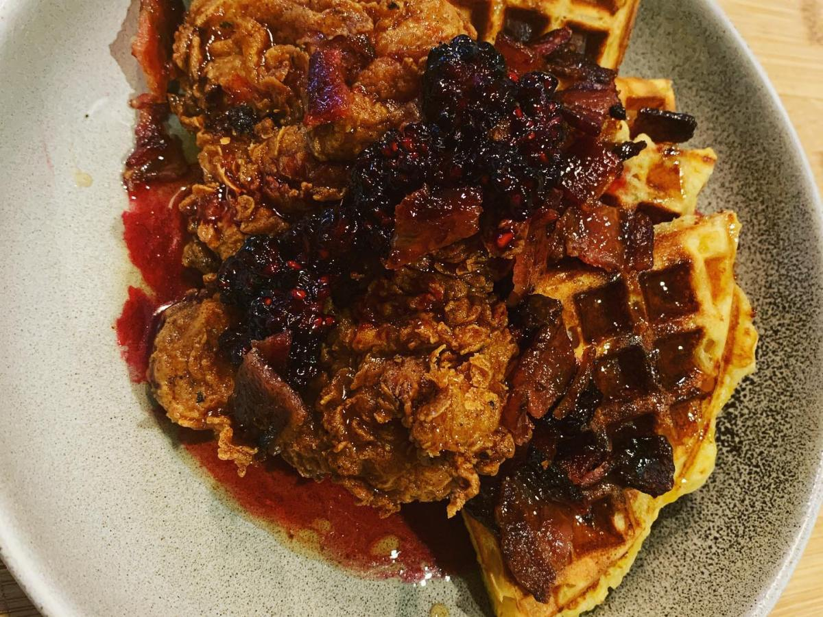 Chicken and Jalapeno-Cheese Waffles, Topped with Blackberry Jam
