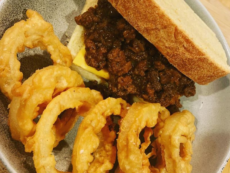 Homemade Sloppy Joe Sandwich w/ Onion Rings