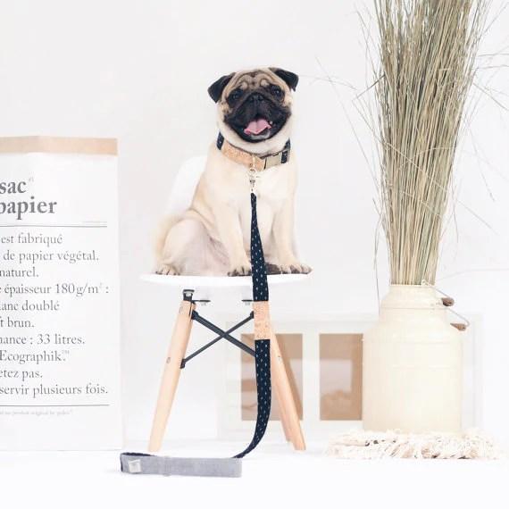 Ohpopdog Basic Collar and Leash Indigo Denim Corkboard Mix