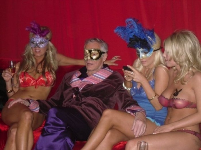 hef in robe at the playboy mansion