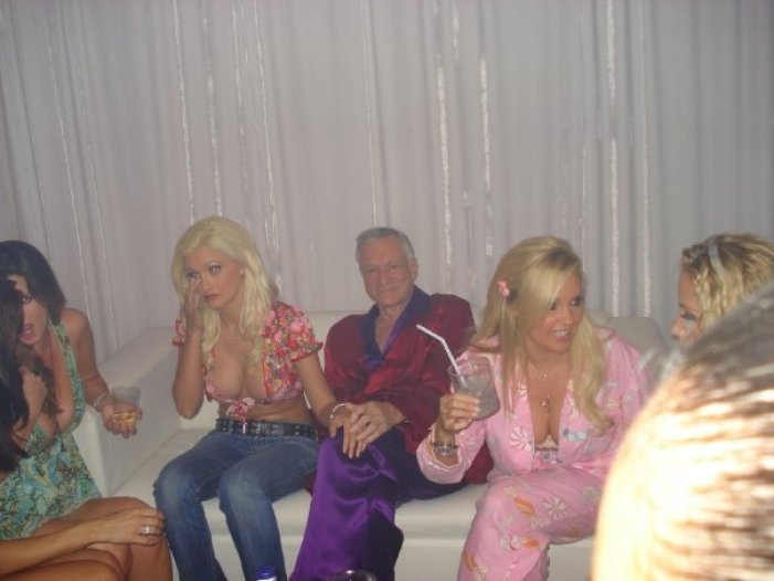 hef with holly at the playboy mansion