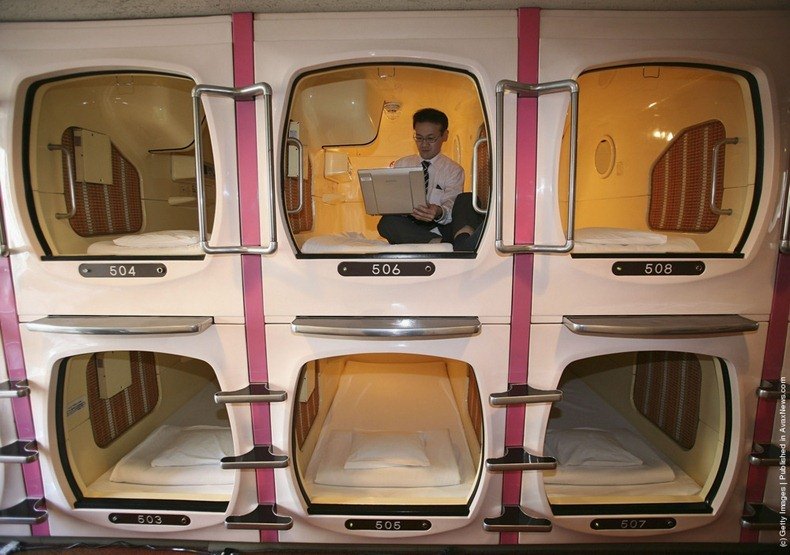 capsule hotel japan, weird hotels
