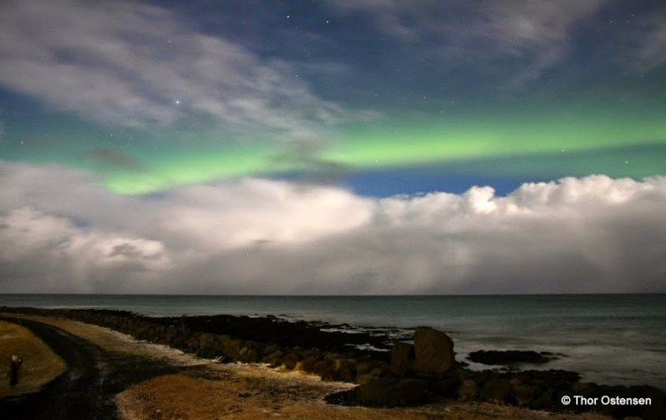 The Northern Lights - Iceland over ocean green