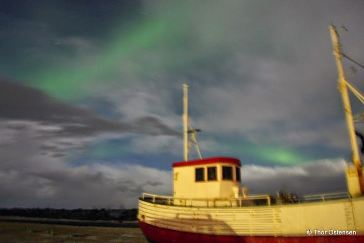 The Northern Lights - Iceland ship