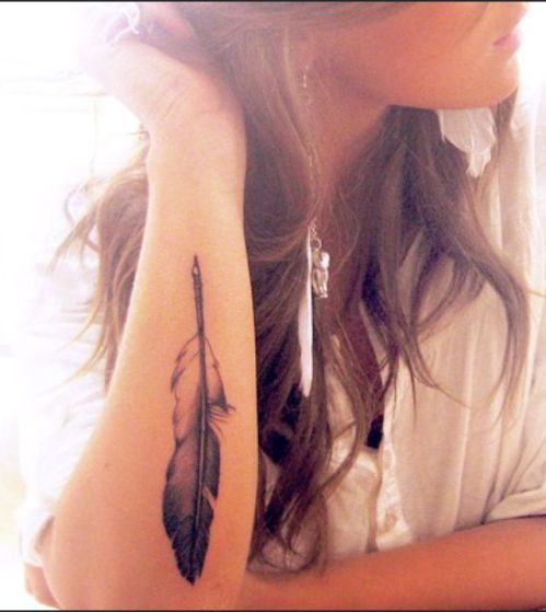 travel feather tattoo