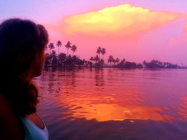 backwaters of Kerala sunset
