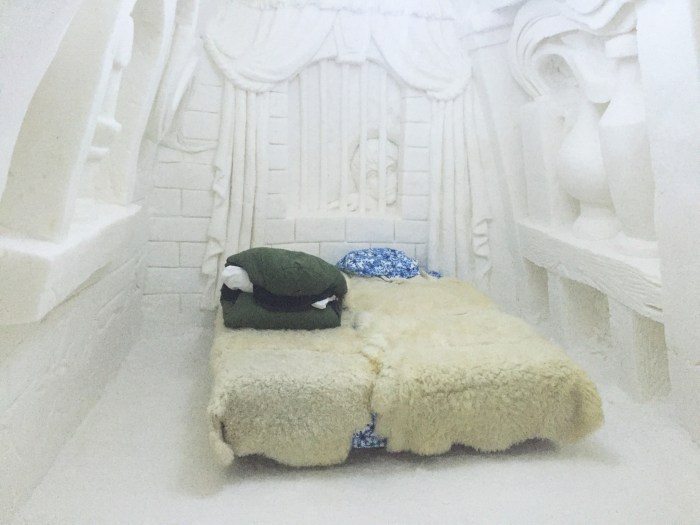 My bed at the SnowCastle in Kemi, Finland
