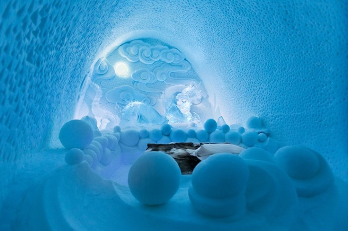 sleeping in a ice and snow hotel