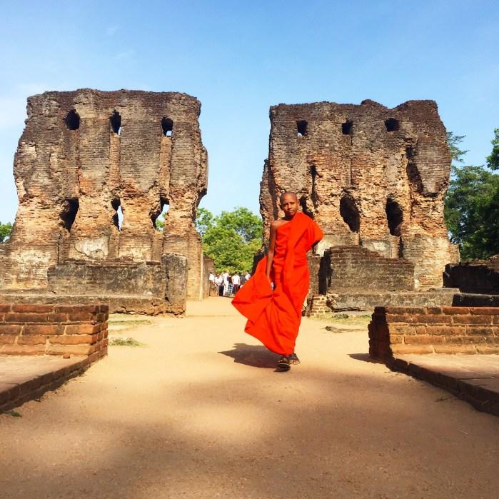 Buddhist monk in Polonarauwa sri lanka - vanilla sky dreaming