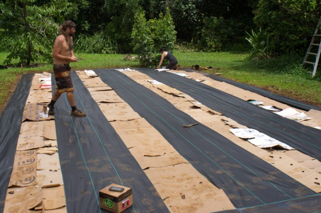 After the area is cleared and smoothed out, the weedblock and cardboard are laid down.